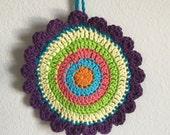 Unique bohemian Retro Colors Pretty Dishcloth, Kitchen wall art, Eco Friendly cotton crochet dish cloth, ready to ship,  dish scrubbers