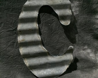 C - Recycled Antique Roofing Tin Letter by JunkFX