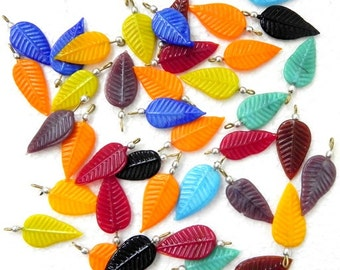 SUPPLIES,beads - Awesome 25 pcs. handmade vintage  finish 15 x 30 mm with hook DISCO Leaves Pendants.