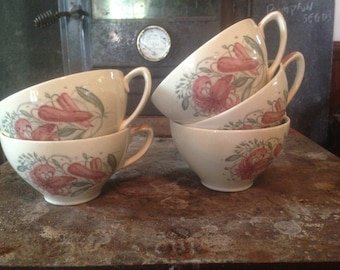 Susie Cooper Pink Tigerlily Teacup Set Of Five Green Band Vintage 1950s Country Kitchen Decor