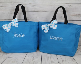 3 Personalized Bridesmaids Gift Tote Bags- Bridesmaids Gift- Personalized Bridemaid Tote - Wedding Party Gift - Name Tote-