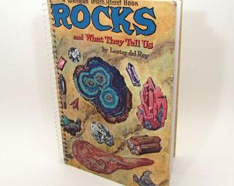 Recycled Book Journal - Rocks - Hardback Book Notebook - Spiral Notebook - Spiral Journal - Science - Geology