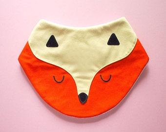FOX Bib, Baby Bib, Bandana Bib, Cotton Jersey Bib, Drool Bib, Animal Bib, Baby Shower Gift, Velcro Bib, Newborn Gift, ORANGE YELLOW fox bib