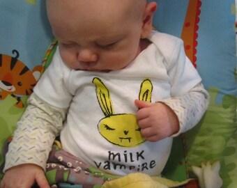 cute baby gift, shower gift, milk vampire, bunny vampire, funny baby gift, free shipping