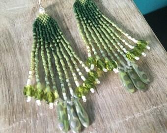Guacamole - Cool Green Petite Ombre Fringe Earrings