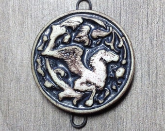 Pegasus Pendant Link in Pewter and Bone White Ceramic