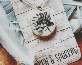 Lotus Silver Plated Resin Pendant Necklace