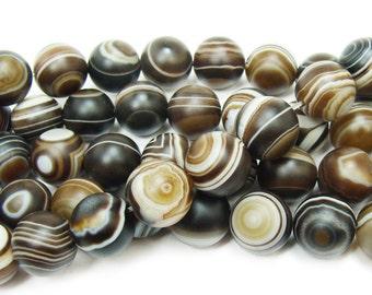 Madagascar Matte Swirl Round Agate Gemstone Beads