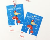 Christmas Gift Tags Set - Peace On Earth - Cute Bird Mushroom Holiday Christmas New Year Gift Tag - Funny Gift Tag Set with Twine, Cute Gift