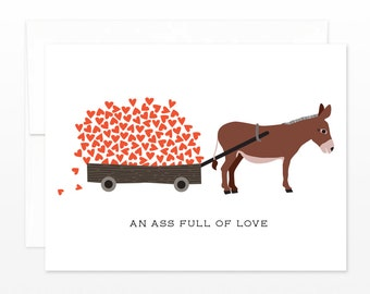 SALE Funny Valentine Card, Donkey Ass Love Greeting Card, Anniversary, Card for Husband, Card for Boyfriend, Card for Wife, for Girlfriend
