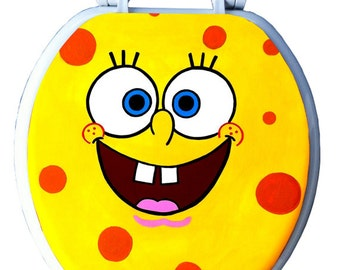 Sponge Bob SquarePants Hand Painted Toilet Seat Rock by Debbie Is Adopted Kids Bathroom Wall Art Decor Remodel