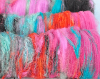 Textured, Chunky Carded Art Batts - Obsession - 3.4 ounces - For Spinning or Felting