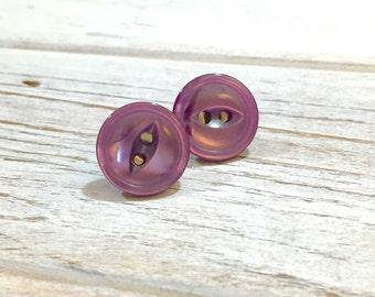 Purple Button Earrings, Purple Button Studs, Button Stud Earring, Iridescent Purple Stud Earrings, Vintage Button Jewelry, KreatedByKelly