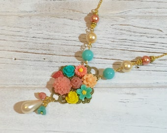 Flower Collage Necklace, Peach Aqua Pearl Floral Necklace, Statement Necklace, Pastel Necklace, Assemblage Necklace, Handmade KreatedbyKelly