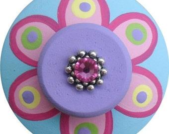 Multi Color Flower Swarvoski Crystal Jeweled Hand Painted Wood Decorative Drawer Dresser Pull Knob