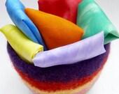 Play silks fairy silks felted bowl set Waldorf inspired Rainbow