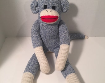 Traditional Blue Red Heel Sock Monkey Made from Vintage Socks
