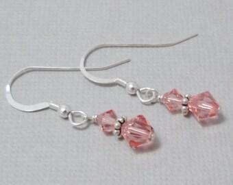 Peach Drop Earrings, Rose Peach Swarovski Crystal Earrings, Swarovski Crystal Jewelry, Gift For Her