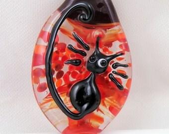 Splat the Cat Lampwork Cat Pendant - Handmade Artisan Lampwork Glass Bead - Red and Black - SRA Lampwork