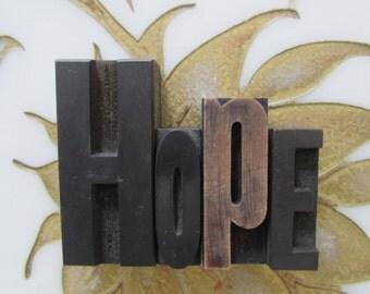 HOPE Letterpress Wood Type Printers Blocks