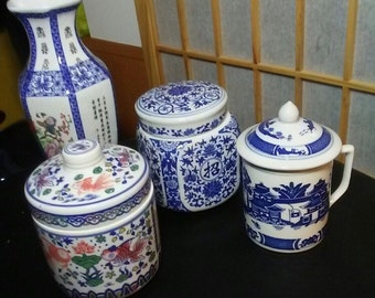 Four Piece Chinese Ceramic Pottery