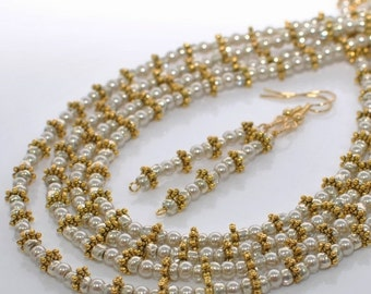 Silver and Gold Necklace Set Pearly Jewels  - Long Necklace Set - Silver and Gold Jewelry - Gift for Mother