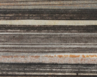 Stripes 93 - orange, brown, gray striped Collagraph hand-pulled print - 4.25 x 4.25 inches OOAK