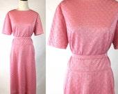 Pink Metallic Dress, Shimmery Silver Thread, Diamond Shape Pattern, Vintage 50s 60s, Short Sleeves, Fit & Flare, Matching Belt, Medium Large