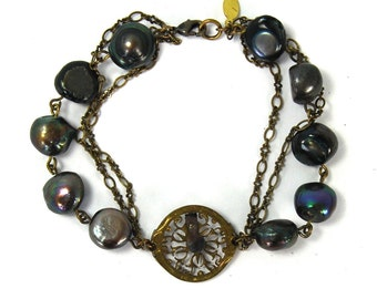 QUEENS JEWELS Steampunk Bracelet with Circa 1700s Pocket Watch Bit Black Baroque Pearls Antiqued Brass Exceptional One of a Kind Piece