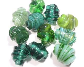 Green Whirled Mix  Glass Handmade  Lampwork Beads