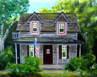 Custom House  Oil Painting portrait, Vacation Cabin