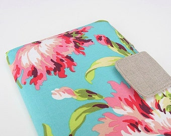 Floral Kindle Cover Flowered Kindle Cover Kindle Fire Nook Simple Touch iPad Mini Kobo Cover Case Aqua Pink Amy Butler Love eReader