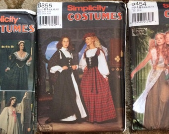 Simplicity Pattern Lot-Medieval/Renaissance, Fairy Sprite, Celtic Woman-All new, uncut, factory folded with instructions.  Andrea Schewe