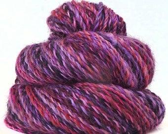 Handspun handdyed Wensleydale wool mulberry silk yarn