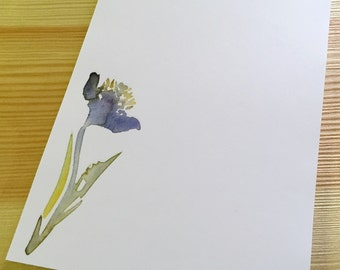 Floral Notepad Stationery - Watercolor Flower Notepad - Personalized or Blank Handmade Black Iris Notepad - 40 Sheet Notepad