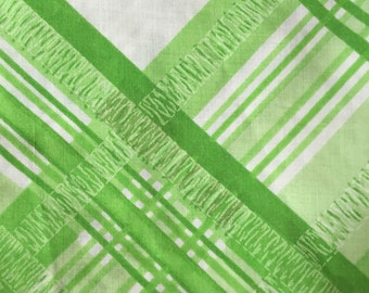 Vintage twin flat sheet  - green plaid