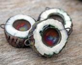Handmade RAKU Connector Bead Set of Three