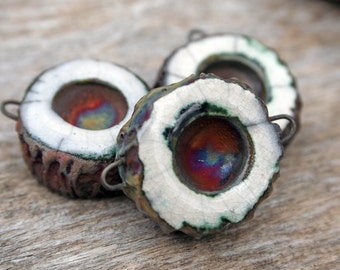Handmade RAKU Connector Bead Set of Three