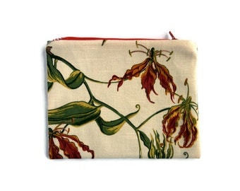 Zipper Pouch, Botanical Pouch, purse organizer, clutch bag, Linen Fabric, Floral, travel accessory, cord cozy, fabric bag, gadget case