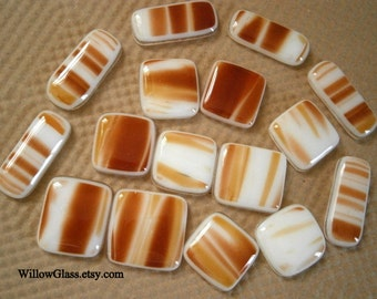 SALE Fused Glass Cabochons, Clearance Sale 16 Sedona Glass Cabs, Willow Glass