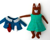 Girl Fox Doll in Teal coat with bunny wool plush softie