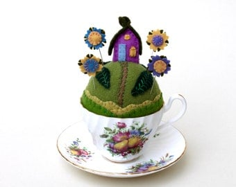 Pincushion Tiny World Fairy House on a Hill fantasy garden wool teacup