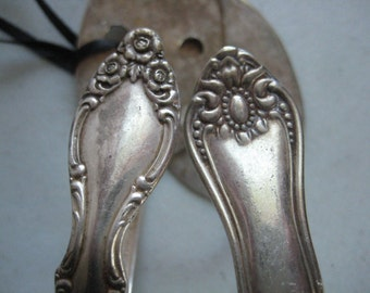 Silver plated Mismatched pair Spoon hooks curtain tie backs kitchen  or bath towel  hanger coat hook