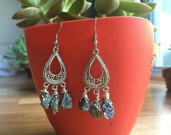 Handmade Pyrite Chandelier Earrings