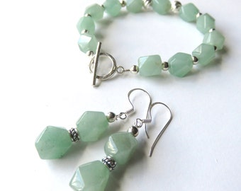 Gemstone Bracelet and Earring Set, Matching Green Gemstone Jewelry, Mint Green and Silver, Aventurine Secial Occasion Gift for Her