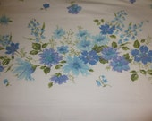 Vintage Flat Sheet, Full Size, Springmaid Sheets, Luxury Muslin, 1970s Seventies, Retro Bed Linens, Cotton Fabric, Bedding, Flowers Floral