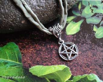 PENTACLE all sterling silver and sage green silk cord pendant necklace length choice by srgoddess