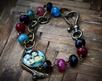 To Grandma's House - A bracelet inspired in an alternate ending to little red riding hood, designed and crafted by Danita Art