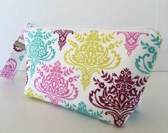 Wristlet, makeup bag, aztec medallion, cosmetic bag, zipper pouch, wristlet makeup bag, zipper bag, (522)