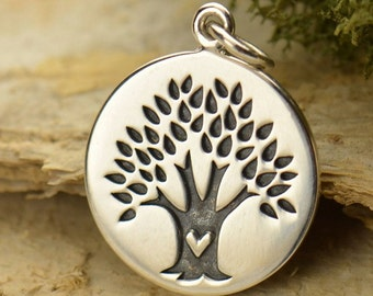 Sterling Silver Family Tree of Life pendant with heart on the trunk